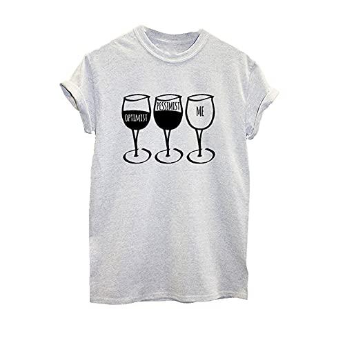 N\P Copa de vino impresión camiseta de las mujeres de manga corta O cuello suelto de las mujeres de la camiseta de verano