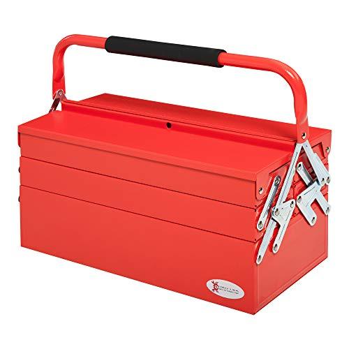 DURHAND Caja de Herramientas de Acero Plegable con 5 Compartimentos Maletín de Herramientas con Mango para Taller Hogar 45x22,5x34,5 cm Rojo