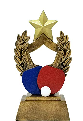 Decade Awards Ping Pong Trophy - Colored Paddles Table Tennis Award - 6.5 Inch Tall - Engraved Plate on Request