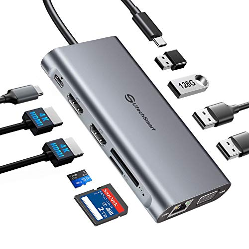 USB C Hub, UtechSmart Triple Display USB Type C Adapter Docking Station with 2 HDMI, VGA, Power Delivery Type C Port,SD TF Card Reader, 4 USB Ports USB-C Dock Compatible for MacBook, Other USBC Laptop