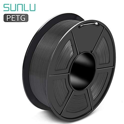 SUNLU PETG Filament 1,75mm mit SUNLU Upgrade 1kg Rolle (2.2lbs), Dimensionsgenauigkeit +/- 0.02mm, für meisten FDM 3D Drucker, Grau