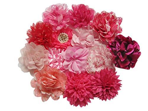 YYCRAFT Lot de 15 grandes fleurs en mousseline de soie pour filles - Nœuds - Artisanat - Décoration de fête (7,6 - 11,4 cm, rose vif, fuchsia mélangé)