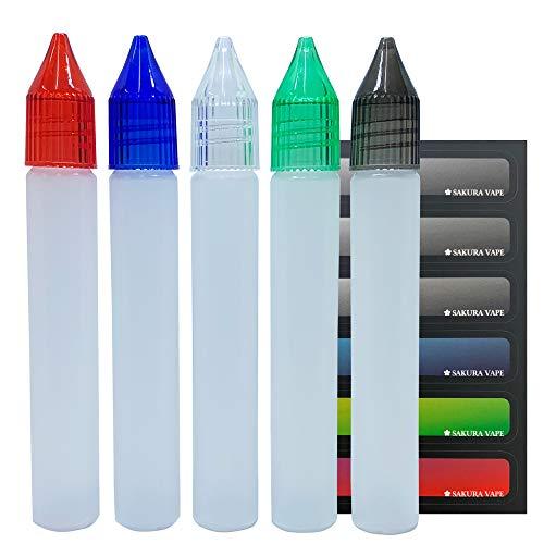 ユニコーンボトル 15ml 5本セット マルチカラー(クリア、グレー、グリーン、ブルー、レッド) SAKURA VAPE オリジナルラベルシール付