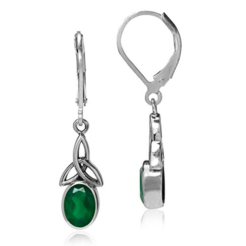 Silvershake 1.44ct. Natural Emerald Green Agate 925 Sterling Silver Triquetra Celtic Knot Leverback Earrings