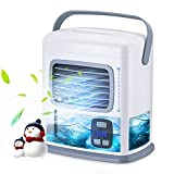 Portable Air Conditioner Fan for Small Room - 3 in 1 Personal Mini Desktop AC Evaporative Air Cooler Fan w/ 12H Timer, Adjustable Wind Direction, 500ML Large Water Tank, 2 Speeds, for Office Home