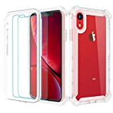 Garegce Coque iPhone XR + 2 Pack Verre trempé Protecteur écran, Antichoc 360 Transparente Silicone TPU+PC, Bumper Anti-Chute...
