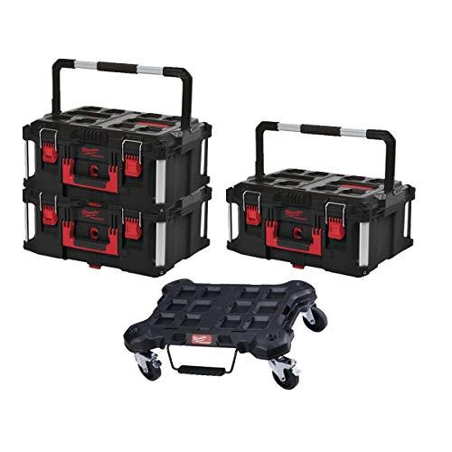 MILWAUKEE PACKOUT Flat Trolley Pack - 3 Cajas de Transporte 62L Tamaño 3