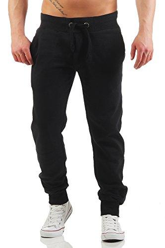 Happy Clothing Herren Jogginghose mit Reißverschluss Slim Fit, Größe:XXL, Farbe:Schwarz