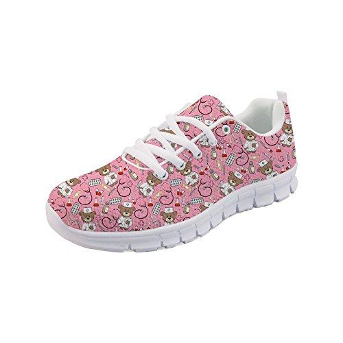 Nopersonality Damen Sportschuhe Laufschuhe Bequem Turnschuhe Sneakers Gym Fitness Leichte Schuhe - Cartoon Krankenschwester Bär (Rosa,Größe 39)