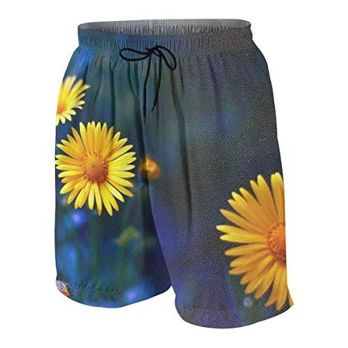 Mu You Ben Erde Blumen Gelbe Kamille Teenager Jungen Beachwear Strand Shorts Slim Fit Badehose Boardshorts, M (10-12)