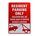 Resident Parking Only Reflective Signs Green 14 X 10 inch Rust Free 40 Mil Aluminum Sign (Red)