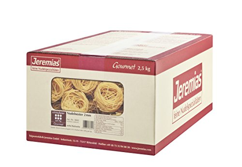 Jeremias Nudel-Nester 2 mm, Gourmet Frischei-Nudeln, 1er Pack (1 x 2.5 kg Karton)