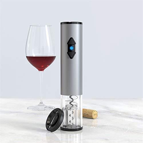 Sacacorchos Abre de vino eléctrico para una botella de vino eléctrica automática abrelatas de sacacorchos con cortador de lámina para el amante del vino 2-en-1 Conjunto de regalos ( Color : Silver )