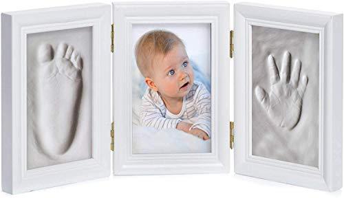 Marco de fotos de bebé de yeso - Marco de fotos de yeso para la huella de la mano y las fotos (Blanco - 3 piezas)
