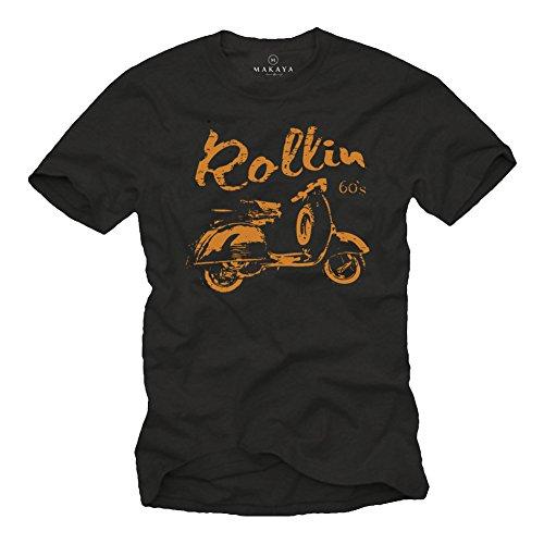 Camiseta Negra con Manga Corta para Hombre - Scooter Rollin 60s