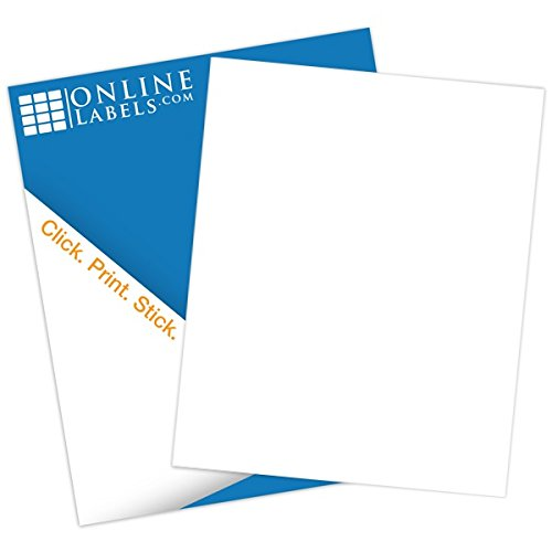 Sticker Paper, 100 Sheets, White Matte, 8.5 x 11 Full Sheet Label, Inkjet or Laser Printer, Online Labels