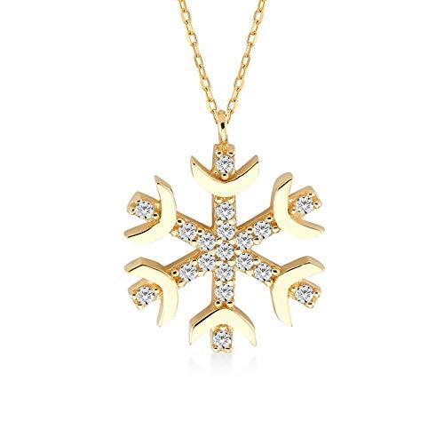 Gelin Halsketting voor dames en meisjes van 14 karaat – 585 echt geelgoud met gouden hanger, sneeuwvlok, cadeau voor verjaardag en Kerstmis – ketting 45 cm