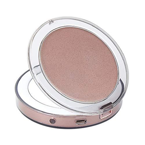 Junhouse Miroir de Maquillage de Voyage avec éclairage LED, grossissement 3X, lumière du Jour, Portable, Compact et Grand Miroir éclairé, Rose Gold, Taille Unique