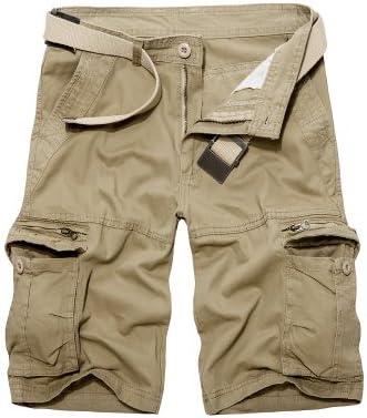 FMSZDSTMDNSDK Short Shorts for Men, Mens Cargo Shorts Green Cotton Shorts Men Loose Multi-Pocket Shorts Homme Casual Trousers (Color : Khaki, Size : 32)