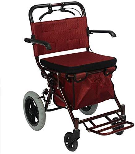 Falten Sie den tragbaren leichten faltbaren Rollstuhl, der medizinischen, Alten Roller-Reiserollstuhl fährt Falten Sie den tragbaren Handstoß-Einkaufswagen Riesenrad-ultraleichter Wanderer