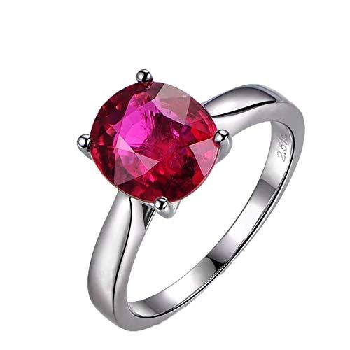 Ubestlove Ehe Ring Weißgold 750 Geschenk Mutter Meiner Kinder Roter Turmalin Oval 1,2Ct 2,51Ct Damenringe 63