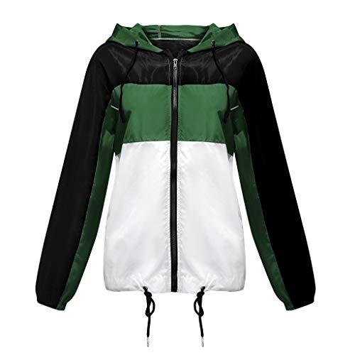 AKAIDE Damen Mantel Casual Plus Size Herbst Lange Ärmel Reißverschluss Dünn Anzüge Hoodie Sport Sweatshirt Schwarz Weiß Gr. XL, grün