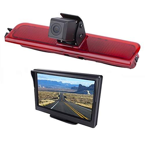 HD 720p auto derde dak Top Mount remlicht camera remlicht achteruitrijcamera voor VW Caddy (2003-2014) + 5,0 inch dvd-monitor TFT-scherm vrachtwagen auto LCD-display
