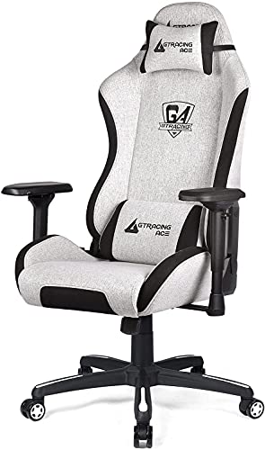 GTRACING Gaming Chair,Fabric Racing Computer Chair,Big and Tall Gaming Chair with 4D Adjustable Arms and Heavy Duty Metal Base,for Office or Gaming(Beige)