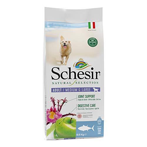Schesir, Cibo Secco Completo e bilanciato per Cani Adulti Taglia Media Linea Natural Selection Ricco in Tonno - Sacco di crocchette da 9,6 kg