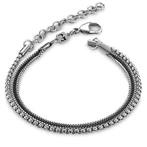 Handmade Mens Silver Bracelet - Men Chain Bracelet Made Of Stainless Steel - Silver Bracelet For Men - Fits 7' - 8.6' Wrist Size