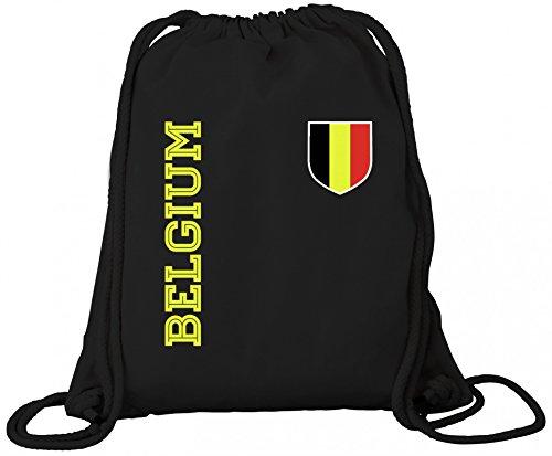 Belgique Belgien Fußball Fanshirt WM Gruppen Premium Bio Baumwoll Turnbeutel Rucksack Stanley Stella Fan Trikot Belgium, Größe: onesize,Black