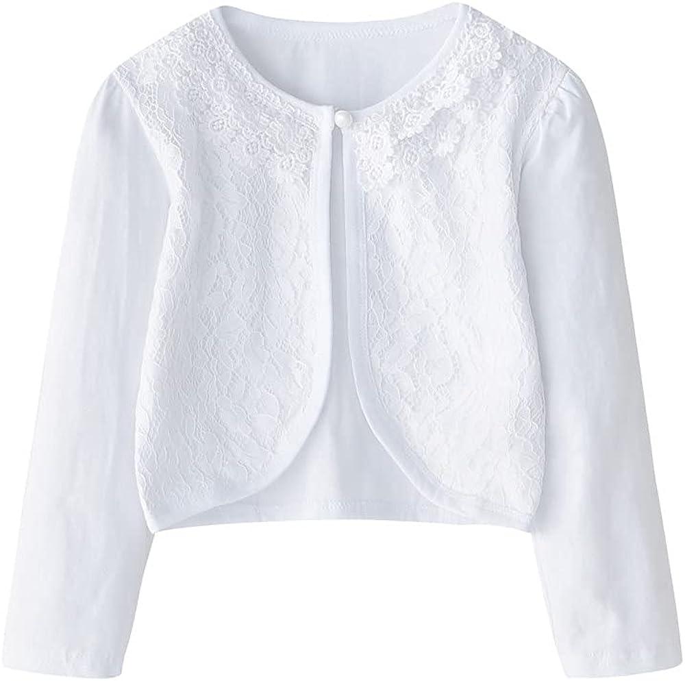 CONGMI Little Girls' Long Short Sleeve Lace Bolero Cardigan Shrug Dress Cover up 2-11 Years