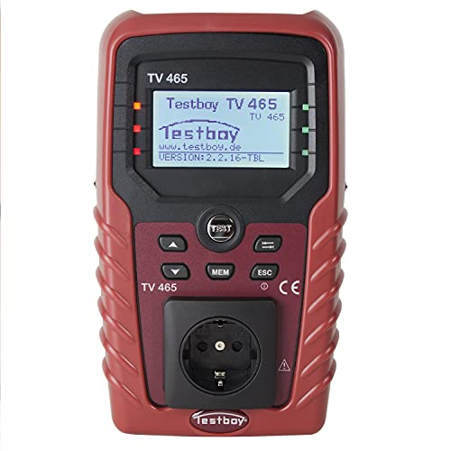 Testboy TV 465 Gerätetester nach DIN VDE 0701-0702, Elektriker Werkzeug (integriertes Kompensationsmodul, netzunabhängig, menügesteuerte Hilfefunktion, ohne Speicherfunktion), Rot/Schwarz