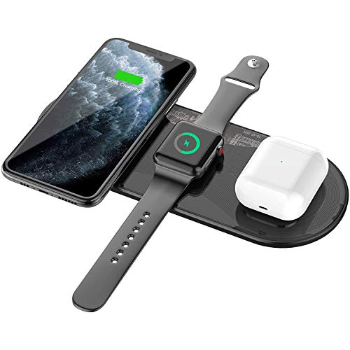 Blulory 15 W Cargador Inalámbrico Rápido,Qi Wireless Charger 3 en 1 compatible con iPhone 12 Mini/12/12Pro/12 Pro Max/iPhone 8/10/11/X Series/AirPods 2/Pro/Apple Watch 2/3/4/5/6/SE