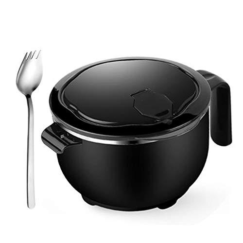 YINGXUE 弁当箱 ステンレス カップ麺 インスタントラーメン ボウル 漏れ防止 蓋付き 保温べんとう箱 丼 大容量 1200ml (黒 1200ML)