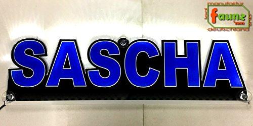 'Grand panneau camion Truck lumineux LED Sascha Bleu ou votre personnalisable en couleur au choix lettres majuscules comme contours découpés 12/24 V© faunz