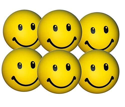 Stressballs 6 x Gelbe – Smiley Stress Ball - Antistressball , Knautschball – Kleiner Ball, Grosse Stresserleichterung
