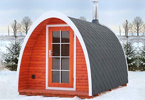 BZBCabins.com Barrel Sauna Kit Igloo 40, 8 Person Outdoor Sauna with Harvia Heater