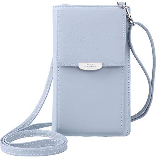 WANYIG Frauen Brieftasche Cross-Body Tasche PU Leder Handy Schultertasche Kleine Damen Geldbörse Handy Mini-Tasche Kartenhalter Umhängetasche(Blau)