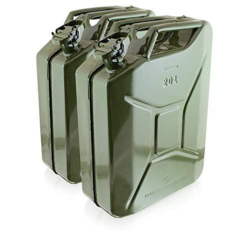BITUXX® Stahl Benzinkanister Kraftstoffkanister Kanister UN Zulassung (2X 20 Liter)