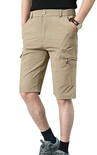 HOW'ON Men's Outdoor Hiking Shorts Expandable Waist Lightweight Quick Dry Shorts Khaki 32