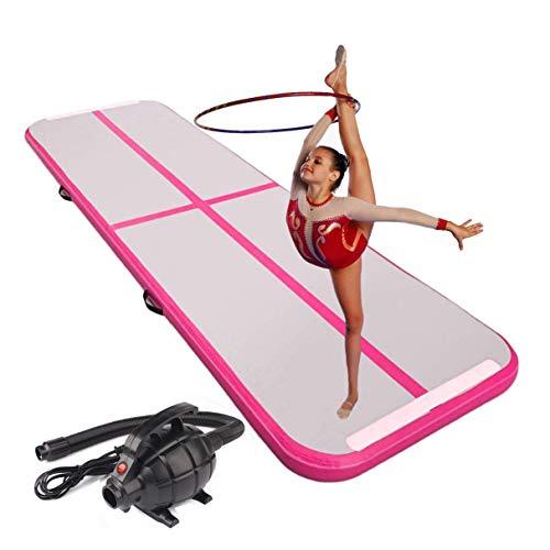 CNSPORT Airtrack Tapis de Gymnastique Gonflable Air Track pour Gymnaste Tumbling Yoga (Pink, 3X1X0.1M)