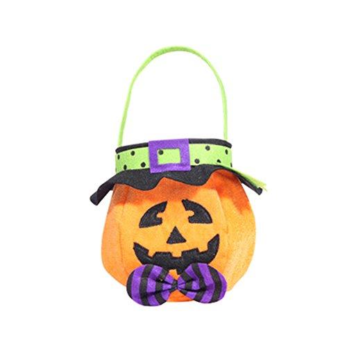Treestar Halloween-Leckerlibeutel Süßigkeiten Süßigkeiten Handtasche leer Geschenk Tote Bag Hut Tuch Container für Süßigkeiten Buffet Party Dekoration, Stoff, Stil 1, 26 x 15 cm