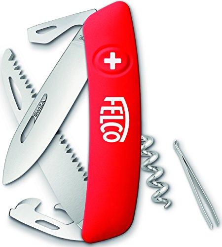 FELCO 505 Schweizer Taschenmesser, Klappmesser / Schnappmesser / Taschenwerkzeug mit 10 Funktionen, inkl. Korkenzieher und Säge, Robuste Klinge aus Edelstahl, Kratzfester Griff
