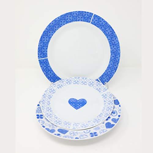 Omnia Casa Service d'assiettes en Porcelaine 19pz Mod. Hearts Bleu