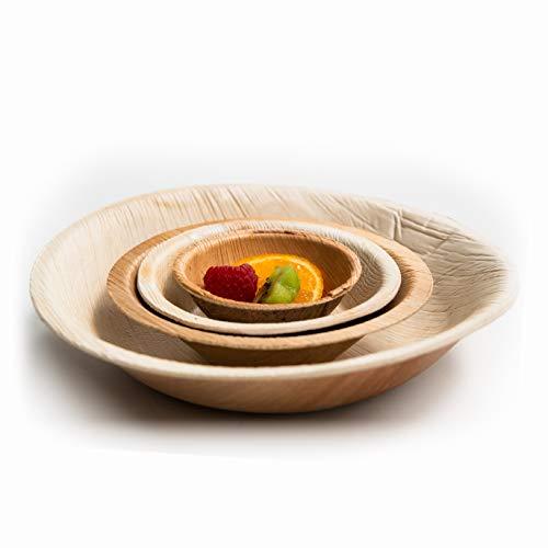 CANAPE KING | 25PCS x 18 cm ciotole rotonde monouso a foglia di palma | Ciotola naturale ecologica – come bambù, carta, ciotole di plastica – ideale per feste, barbecue, matrimoni, snack