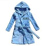 FEETOO] Peignoir prénom garçon brodé avec Une Robe de Chambre 100% Coton (12, Blue)