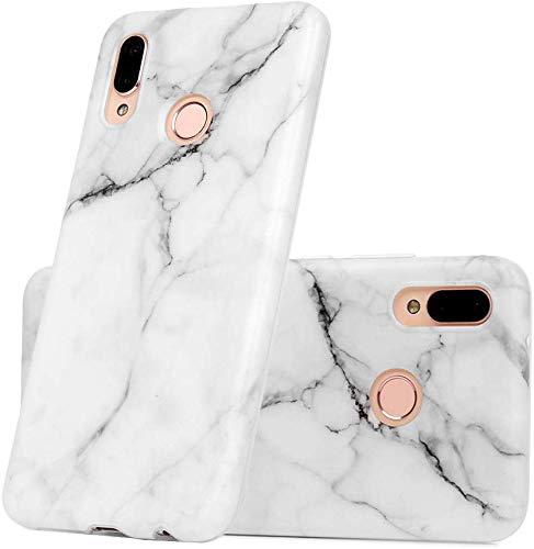 Vogu'SaNa Kompatible für Handyhülle Samsung Galaxy A40 Hülle Silikon Matt Marmor Muster Case Cover Marble Tasche Dünn Schutzhülle Handytasche Skin Softcase Schale Bumper TPU Handycover-Weiß Grau