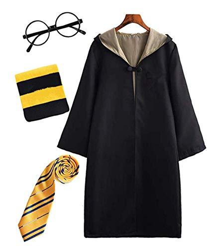 EO Disfraz de Harry para niño Adulto Unisex Capa Disfraz Cosplay Conjunto Traje Varita mágica Corbata Bufanda Gafas Gafas Marco Sombrero Camisa de Roca Carnaval Disfraz Carnaval Halloween