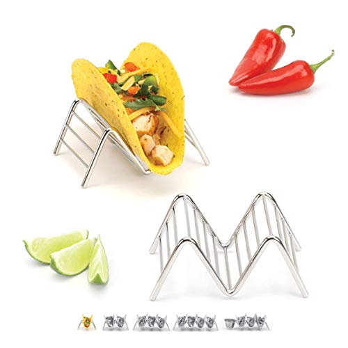Taco Holder Stand - Chrome Finish - Premium 18/8 Stainless Steel - Holds 1 Single or 2 Hard Soft Tacos - Five Styles Available - Set of 2 Racks by 2lbDepot
